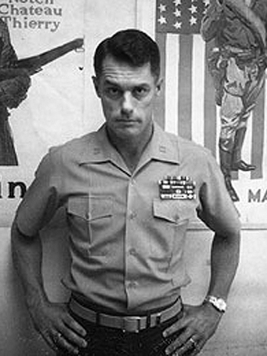 """This is Donnie Dunagan in 1974, during his time in the Marine Corps. Even if anyone had known, it's tough to imagine anyone calling him """"Maj. Bambi"""" to his face then anyway."""