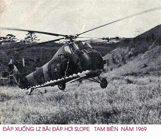 This is an H-34 Sikorsky helicopter flown by the South Vietnamese Air Force 219th Special Operations Squadron while supporting secret SOG missions into N. Vietnam, Laos and Cambodia during the secret war conducted during the Vietnam