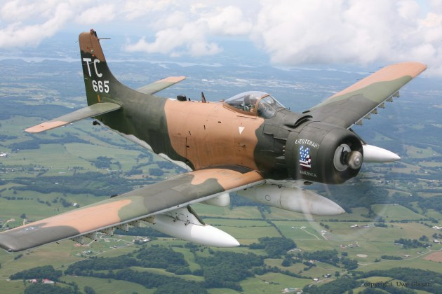 This A1-H Skyraider flew hundreds of sorties in support of SOG missions during the Vietnam War, in many missions supporting SOG recon teams such as ST Alabama on Oct. 5, 1968. The majority of the paint on it is vintage from the Vietnam War. This Douglas Skyraider has been restored and flies out of the Tennessee Museum of Aviation in Sevierville, TN. (Photo courtesy of Neal Melton, of the Tennessee Museum of Aviation.)