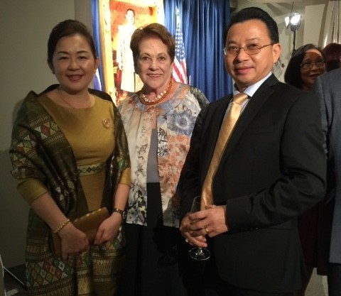 Chairman of the Board of Directors and CEO for the National League of POW/MIA Families Ann Mills-Griffiths, center, with Ambassador Mai Sayavongs, Lao Ambassador to the U.S. and his wife at a recent event held at the Thailand Embassy. (Photo courtesy of Ann Mills-Griffiths)