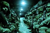 Paratroopers with the 82nd Airborne Division's 1st Brigade Combat Team and Afghan National Army soldiers with 6th Kandak, 203rd Corps, travel aboard a CH-47 Chinook heavy lift helicopter during an air assault mission May 4, 2012, Ghazni Province, Afghanistan.
