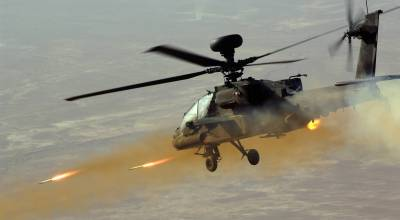 Apache helicopter displays firepower against Taliban fighting positions