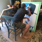 """Evan painting """"Victory"""""""