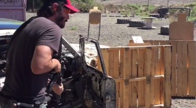 Keanu Reeves tearing it up on the range