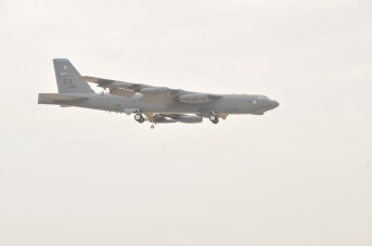 A B-52 Stratofortress from Barksdale Air Force Base, Louisiana, arrived at Al Udeid Air Base, Qatar, April 9. The United States is a part of a 19-nation air coalition that consists of numerous strike aircraft and the B-52s will bring a unique capability to the fight against Da'esh. (U.S. Air Force photo by Tech. Sgt. Terrica Y. Jones/Released)