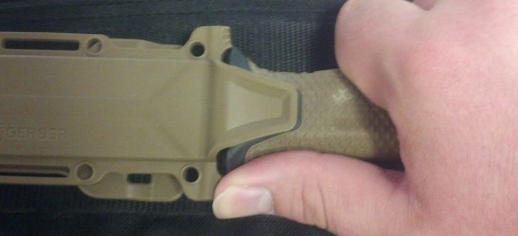 The Gerber StrongArm knive's thumb push pads