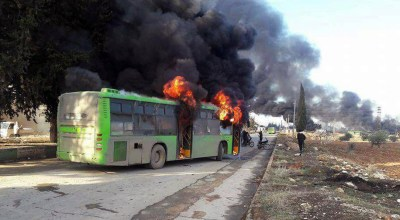 Aleppo evacuation efforts falter as Islamist fighters burn convoy of rescue buses