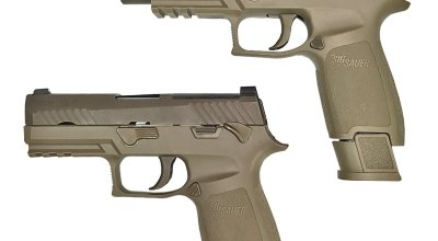 Infographic on the Beretta 92 (M-9) and the Sig 320 (XM-17): U.S. Army Upgrades