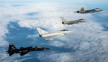 U.S. Air Force T-38 Talon, British Royal Air Force Typhoon, French air force Rafale f-22