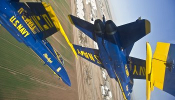 Up close & personal! Navy Blue Angels 'swap paint' over Pensacola Beach
