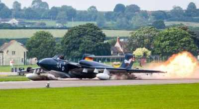 Watch: Last remaining Sea Vixen aircraft makes gear up landing