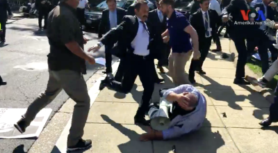 Protesters beat by members of Turkey presidential security detail in Washington D.C.
