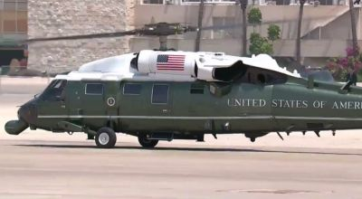 Watch: Massive aerial display as President Donald Trump leaves for Jerusalem in Marine One Helicopter