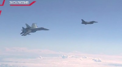 Watch: NATO F-16 intercepts Russian Defense Minister's jet, warned away by Russian fighter