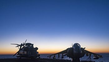 USS Bonhomme Richard transits the Coral Sea at sunrise