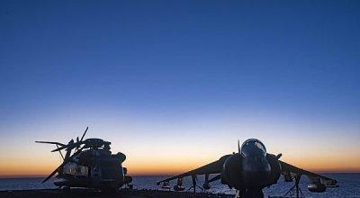 Picture of the Day: USMC CH-53E Super Stallion Helicopter & AV-8B Harrier
