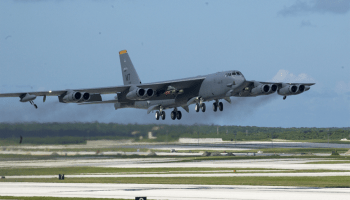 B-52 Stratofortress takes off from Andersen Air Force Base, Guam