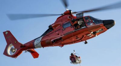 Picture of the Day: To The Rescue! Coast Guard MH-65 Dolphin Rescue Helicopter Medevacs Distressed Fisherman