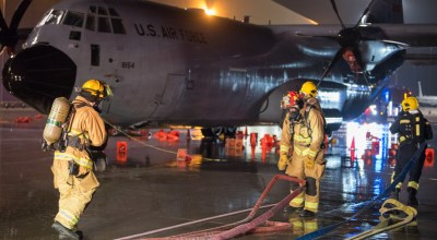Picture of the Day: Firefighters Respond to Simulated C-130 Hercules Emergency