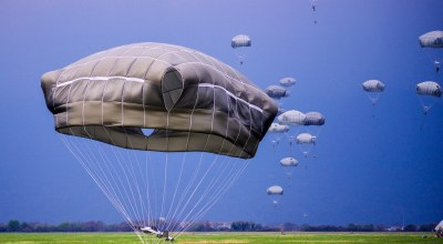 Picture of the Day: Drop Zone Juliet Paratroopers Descend after Jumping from C-130