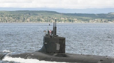 PUGET SOUND, Wash. (April 14, 2017) The Seawolf-class fast-attack submarine USS Jimmy Carter (SSN 23) transits the Hood Canal as the boat returns home to Naval Base Kitsap-Bangor. Jimmy Carter is the last and most advanced of the Seawolf-class attack submarines, which are all homeported at Naval Base Kitsap. | U.S. Navy photo by Lt. Cmdr. Michael Smith