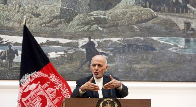 Afghan President Ashraf Ghani speaks during a press conference at the presidential palace in Kabul, Afghanistan, Sunday, July 15, 2018. | AP Photo/Rahmat Gul