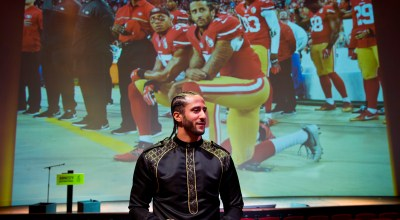 Former NFL quarterback and social justice activist Colin Kaepernick leaves after receiving the Amnesty International Ambassador of Conscience Award for 2018 in Amsterdam, Saturday April 21, 2018. Kaepernick became a controversial figure when refusing to stand for the national anthem, instead he knelt to protest racial inequality and police brutality. (AP Photo/Peter Dejong)