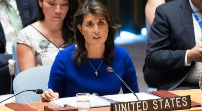 American Ambassador to the United Nations Nikki Haley speaks during a Security Council meeting on the situation in the Myanmar, Tuesday, Aug. 28, 2018 at United Nations headquarters/ (AP Photo/Mary Altaffer)