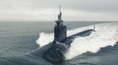 The Virginia-class attack submarine Pre-Commissioning Unit Indiana (SSN 789) departs Newport News Shipbuilding to conduct Alpha sea trials in the Atlantic Ocean. (US Navy)