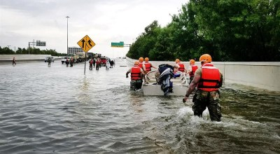 Texas National Guard soldiers arrive in Houston on August 27, 2017 to aid residents affected by Hurricane Harvey. (Texas Army National Guard photo)