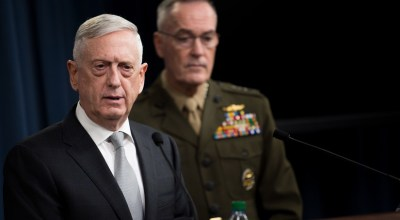 Defense Secretary James N. Mattis and Marine Corps Gen. Joe Dunford, chairman of the Joint Chiefs of Staff, brief reporters on the current U.S. airstrikes on Syria during a joint news conference at the Pentagon, April 13, 2018. DoD photo by Army Sgt. Amber I. Smith