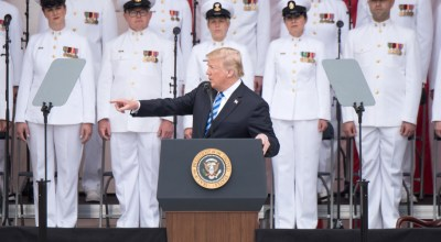 President Donald J. Trump delivers the Memorial Day address during the 150th annual Department of Defense (DoD) National Memorial Day Observance hosted by the Secretary of Defense at Arlington National Cemetery, May 28, 2018. Senior leadership from around the DoD gathered to honor AmericaÕs fallen military service members/ (DoD Photo by U.S. Army Sgt. James K. McCann)