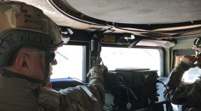 Major Luebbert adn MSG MicKnight in an HMMWV at Camp Shelby, MS in 2018/ Joseph Lafave