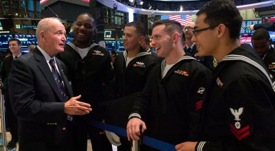 U.S. Marine Col. (Ret) Charles Blaich of Staten Island  visits with Sailors from USS Oak Hill (LSD 51), in port for Veterans Week liberty. U.S. military members visited the New York Stock Exchange (NYSE) Nov. 9, 2018 as part of Veterans Day and Marine Corps Birthday activities in New York City. Kimberly Joiner, Deputy Assistant to the Secretary of Defense for Outreach rang the closing bell alongside U.S. Army Col. Dina Wandler and NYSE president Stacey Cunningham. Joiner is promoting the Dept. of Defense initiative #KnowYourMil in order to expand public understanding of the military/ U.S. Navy photo by Mass Communication Specialist 1st Class Bryan Ilyankoff