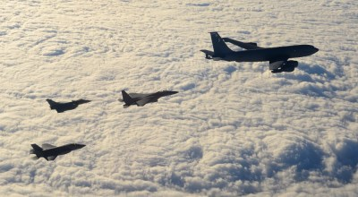 Watch: RAF F-35B, U.S. Air Force F-15E and French Air Force Rafale fighters train together for the first time