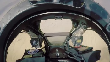 Watch the cockpit shake as the A-10 unleashes its 30mm cannon on a strafing run