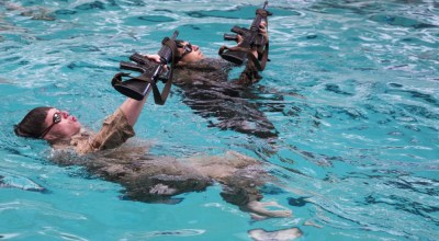U.S. Marines participate in a water skills evaluation during a fitness test on Camp Lejeune, N.C., Nov. 7, 2018. The fitness test evaluated, assessed and selected Marines potentially capable of earning the reconnaissance military occupational specialty. (U.S. Marine Corps photo by Lance Cpl. Kensie S. Milner)