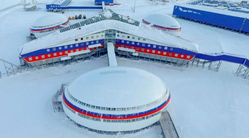 "Central administrative and residential complex of the ""Arkticheskiy Trilistnik"" or Arctic Trefoil base (Photo: Courtesy of Ministry of Defense of the Russian Federation)"