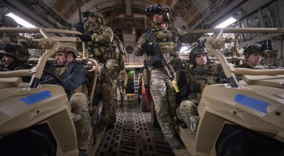 Soldiers with 2-20th Special Forces Group (Airborne) as well as other members of the special operations community prepare to conduct a mock-nighttime assault on the Grenada Dam in Grenada, Mississippi January 20, 2019. The exercise involved a simultaneous assault from multiple points, with the intent of gaining control over an insurgent-held dam.  Southern Strike 2019 is a large-scale, joint multinational combat exercise that provides tactical level training for the full spectrum of conflict. It emphasizes air dominance, maritime operations, maritime air support, precision engagement, close air support, command and control, personnel recovery, aero medical evacuation, and combat medical support.   Air National Guard Photo by Staff Sgt. Christopher S. Muncy. DVIDS.