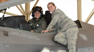Maj. Rachael Winiecki becomes the first female F-35 test pilot