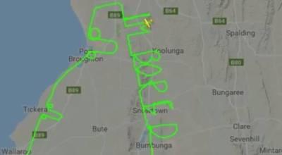 Australian pilot writes 'I'm bored,' draws two penises with flight path