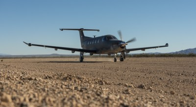 A Pilatus PC-12 from the 318th Special Operations Squadron practices touch-and-go maneuvers at Truth or Consequences, N.M., on January 24, 2019. The 318th Squadron primarily flies with the U-28A aircraft, however they use the PC-12 as a practice aircraft. (Photo by Airman 1st Class Vernon R. Walter III)