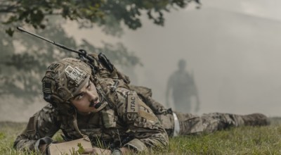 U.S. Air Force Senior Airman Brandan Brown, 2nd Expeditionary Air Support Operations Squadron battalion Tactical Air Control Party, watches close air support provide exercise fire during exercise Ample Strike 2019, near Náměšť Air Base, Czech Republic, Sept. 5. 2019. As a Joint Terminal Attack Controller, Brown is responsible for directing the action of combat aircraft engaged in CAS and other offensive air operations from a forward position. (U.S. Air Force photo by Staff Sgt. Devin Nothstine).