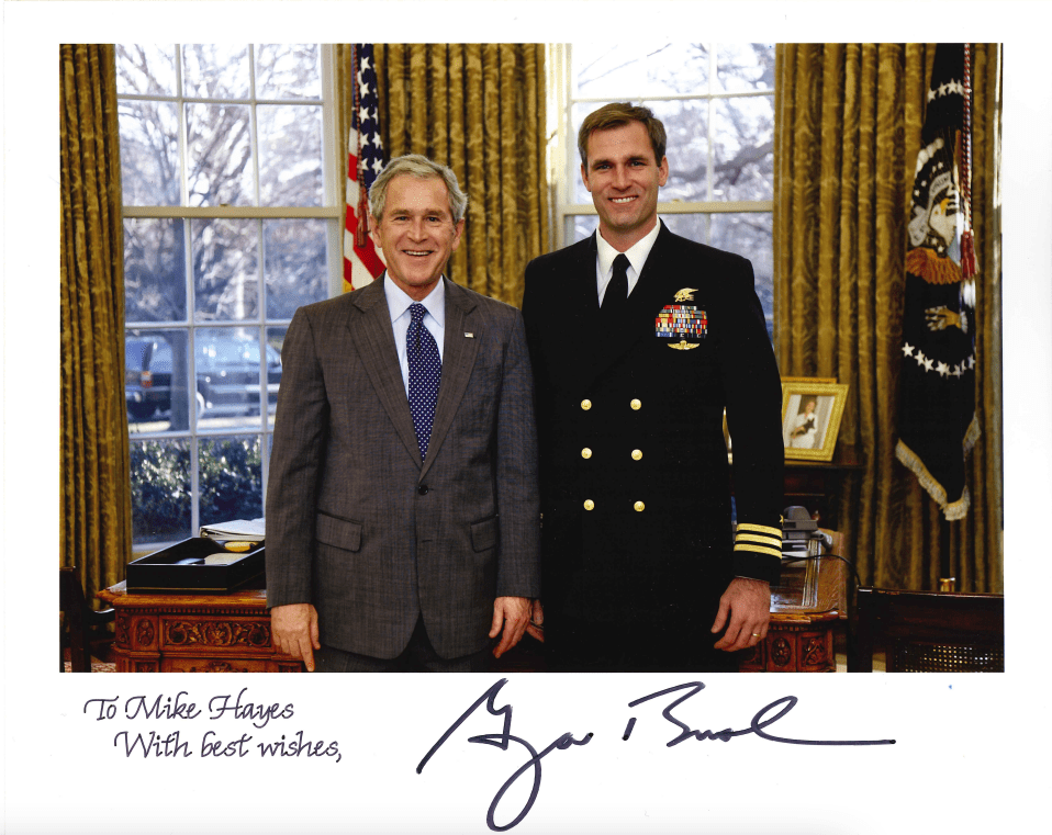 Navy SEAL Mike Hayes with George Bush