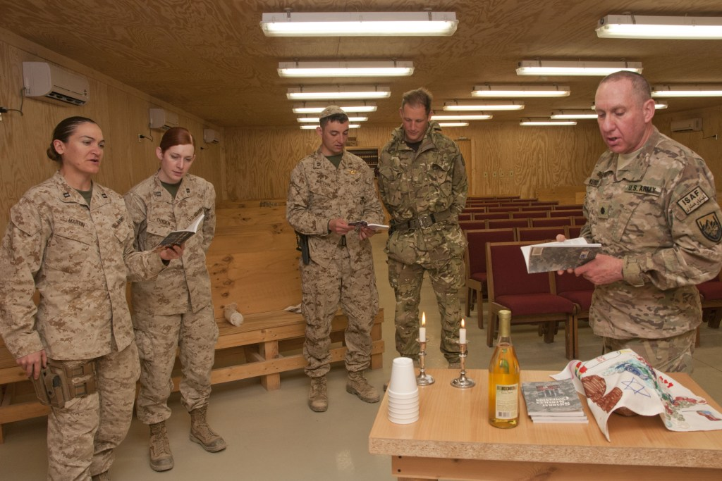 A religious service during Shabbat, a service held at the beginning of Sabbath, in the camp Leatherneck chapel in Afghanistan