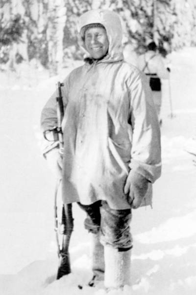 Simo Häyhä with his sniper rifle during the Winter War of 1939-1940
