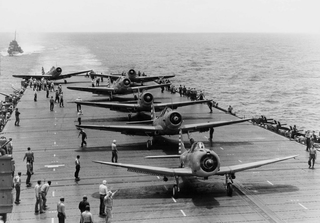 Dusty Kleiss' SBD getting ready to take off from the Enterprise during the Battle of Midway.