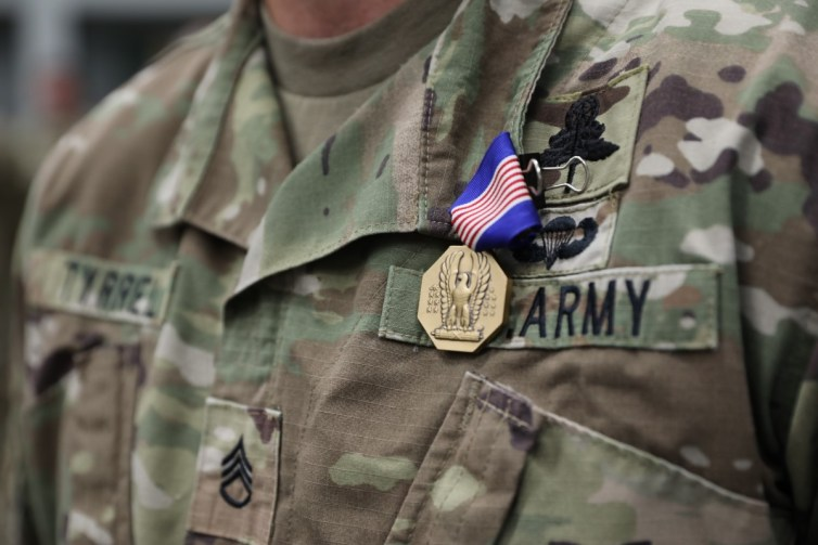SSG Ian Tyrell was awarded the Soldier's Medal for the rescue of a woman who broke her leg and was drowning in a Tennessee river.