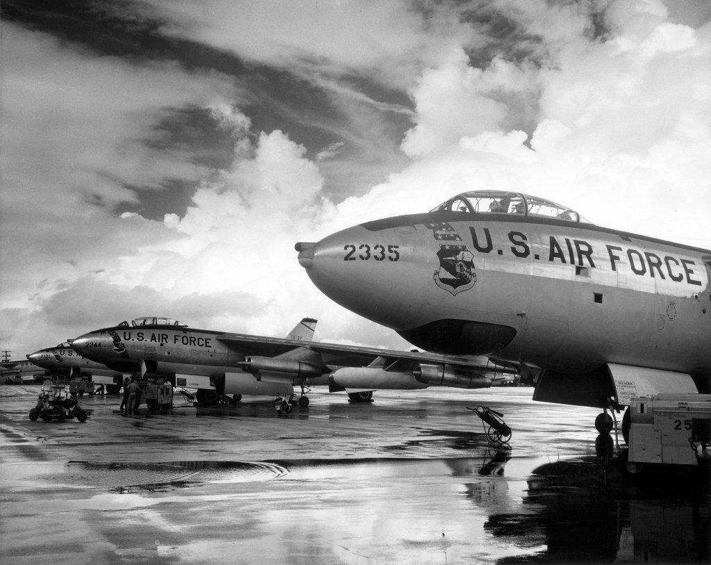 Strategic Air Command is one of the Air Force movies you must see. Here visible are B-47 Stratojet bombers.