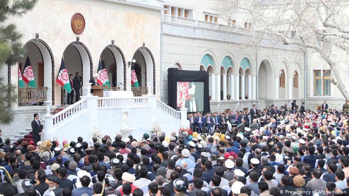 Afghan president Ashraf Ghani gives a speech